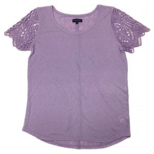 The Limited Lilac Lace Sleeve Burnout Top Shirt
